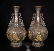 PAIR OF CHINESE GILT SILVER SEATED BUDDHA VASE