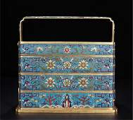 CHINESE CLOISONNE LAYERED FLOWER HANDLE FOOD CONTAINER