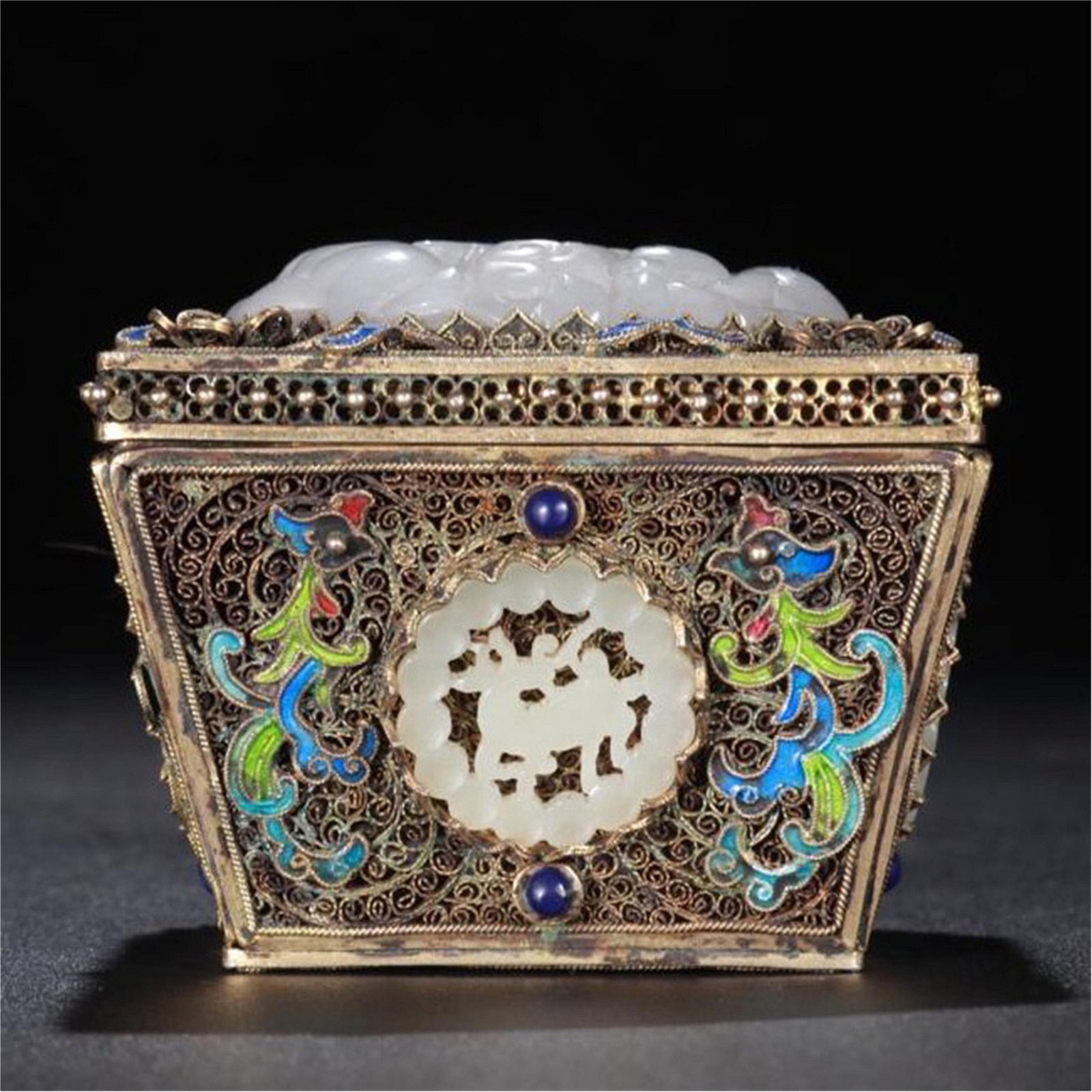CHINESE WHITE JADE PLAQUE INLAID SILVER ENAMEL SQUARE