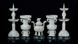 FIVE CHINESE GREY JADE RITAL VESSELS