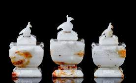 THREE CHINESE GREY JADE LIDDED CENSER