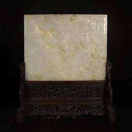 CHINESE WHITE JADE PLAQUE ROSEWOOD TABLE SCREEN
