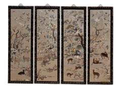 FOUR PANELS OF CHINESE YUE EMBROIDERY OF ANIMALS IN