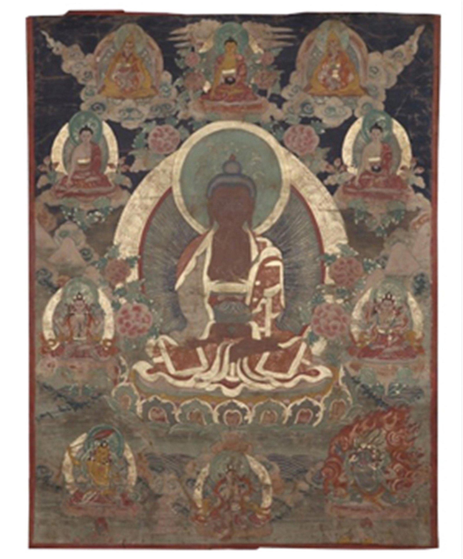 TIBETAN COLOR PAINTED THANGKA OF SEATED BUDDHA