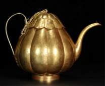 CHINESE PURE GOLD MELON TEA POT