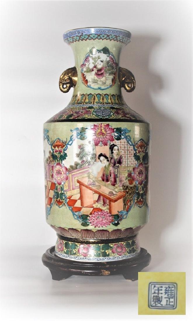 Chinese Qing Dynasty Enameled Porcelain Vase