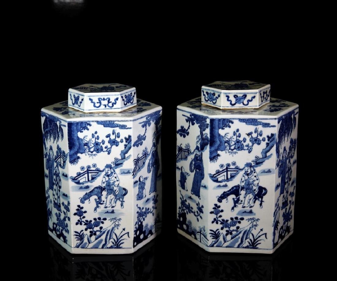 Pair of Chinese Blue and White Porcelain Candy Jars