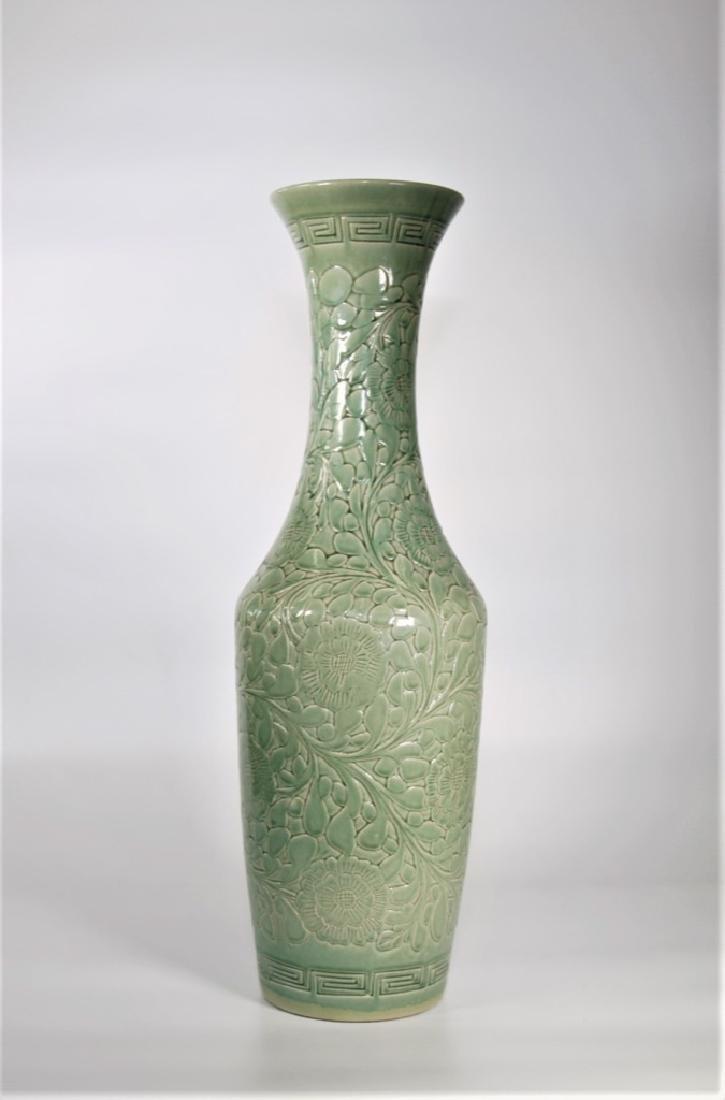 Large Chinese Song Style Yaozhou Celadon Vase