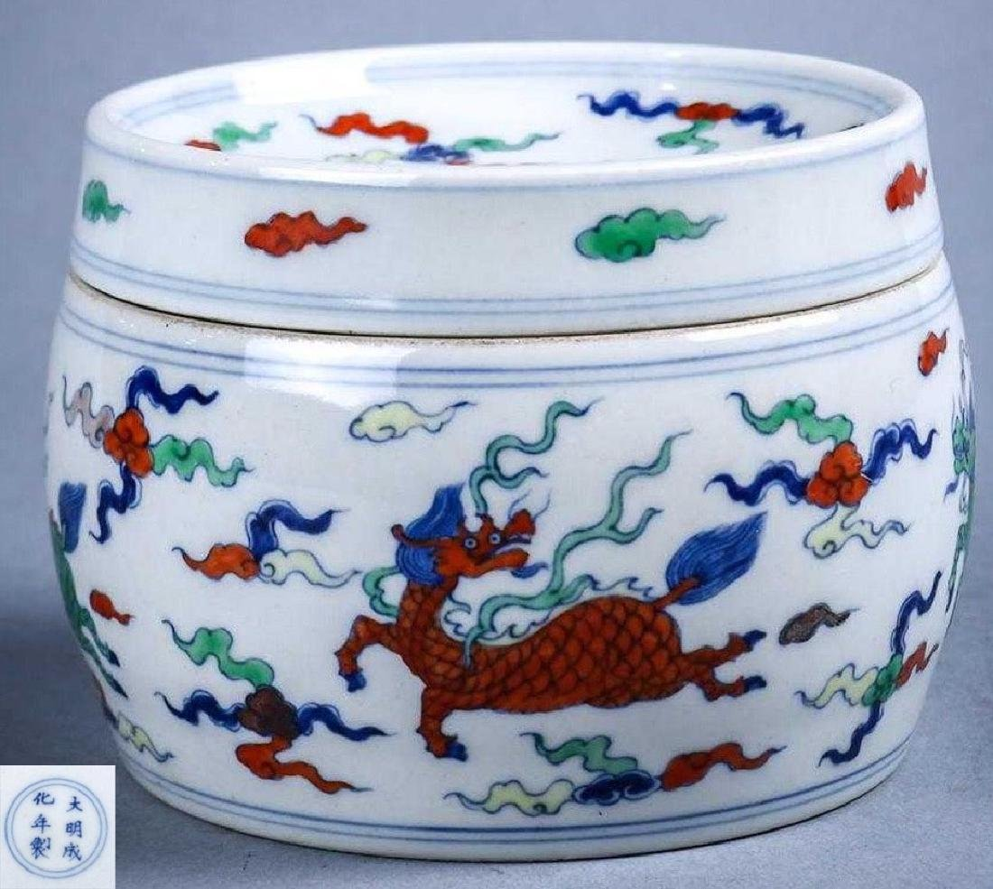 Chinese Doucai with Dragons, Kilin and Clouds Porcelain