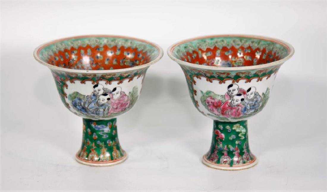 Pair of Chinese Ming Dynasty Wanli Wucai porcelain bowl