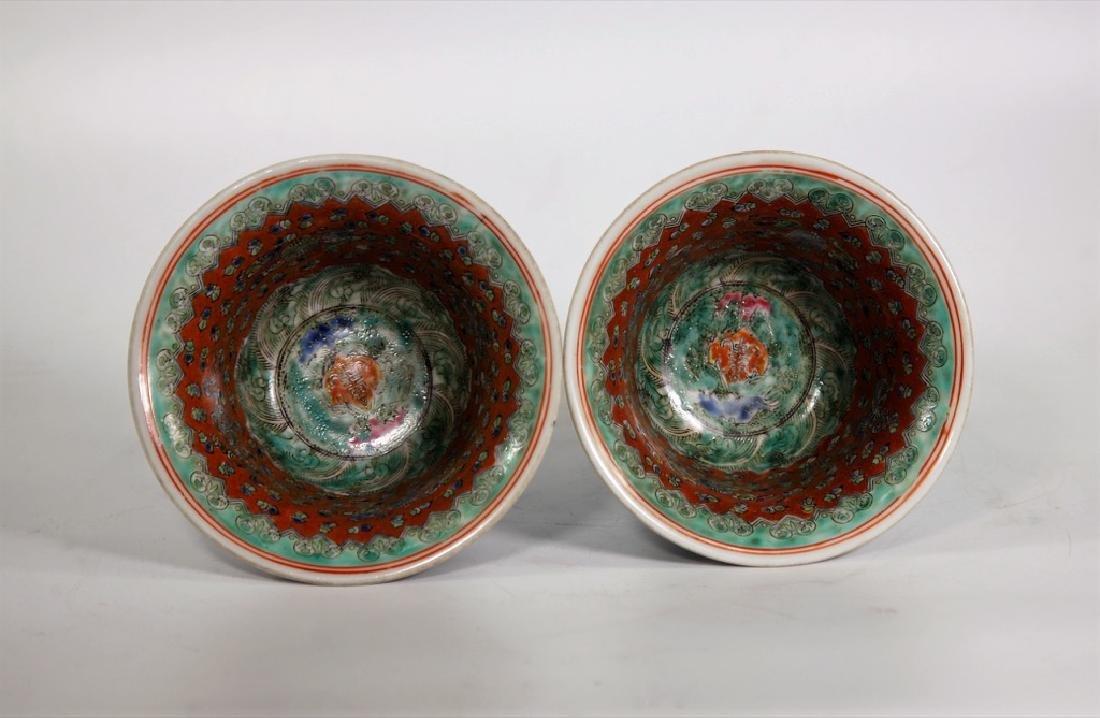 Pair of Chinese Ming Dynasty Wanli Wucai porcelain bowl - 7