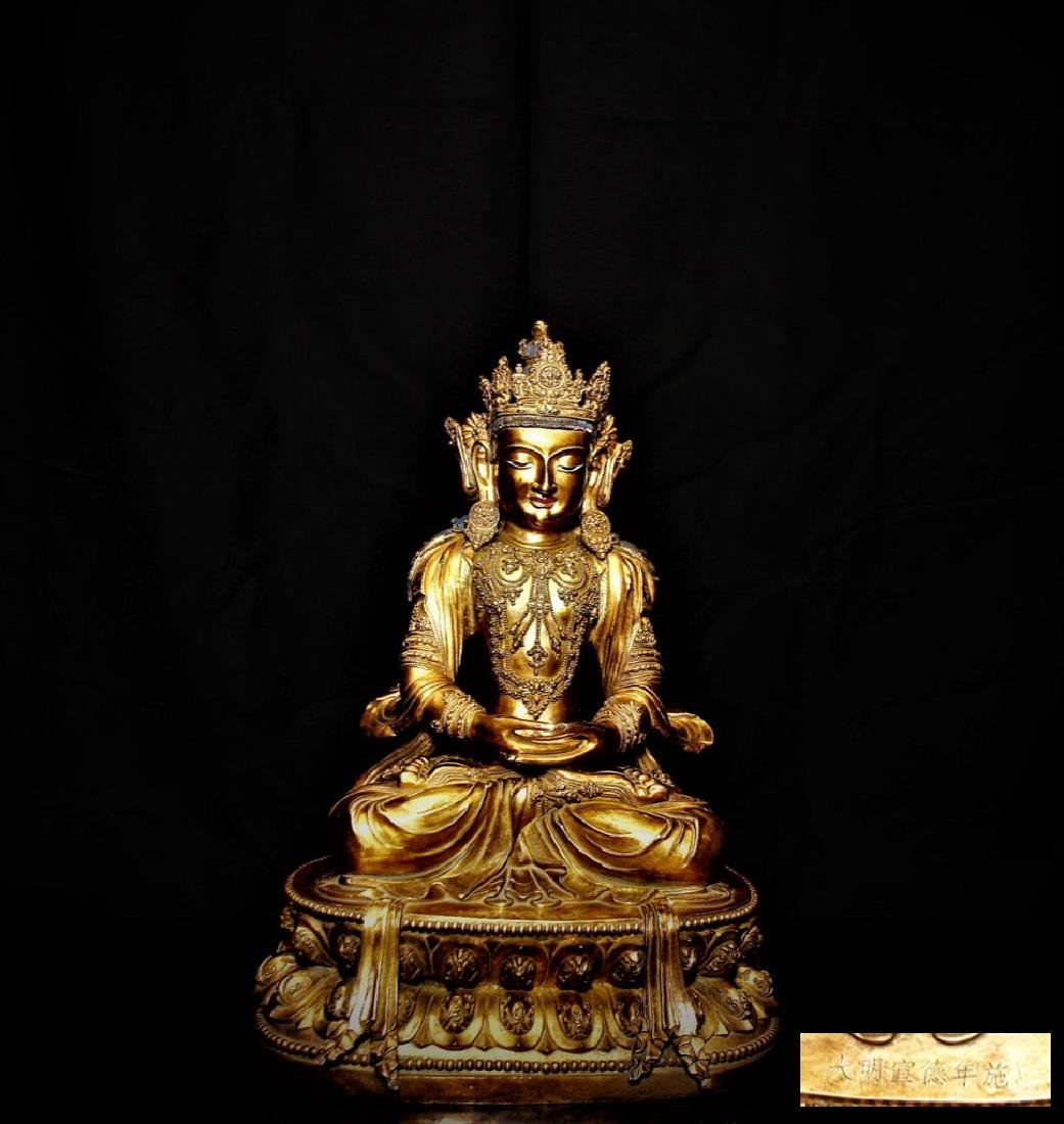 Chinese Ming Dynasty Gilt Bronze Seated Buddha