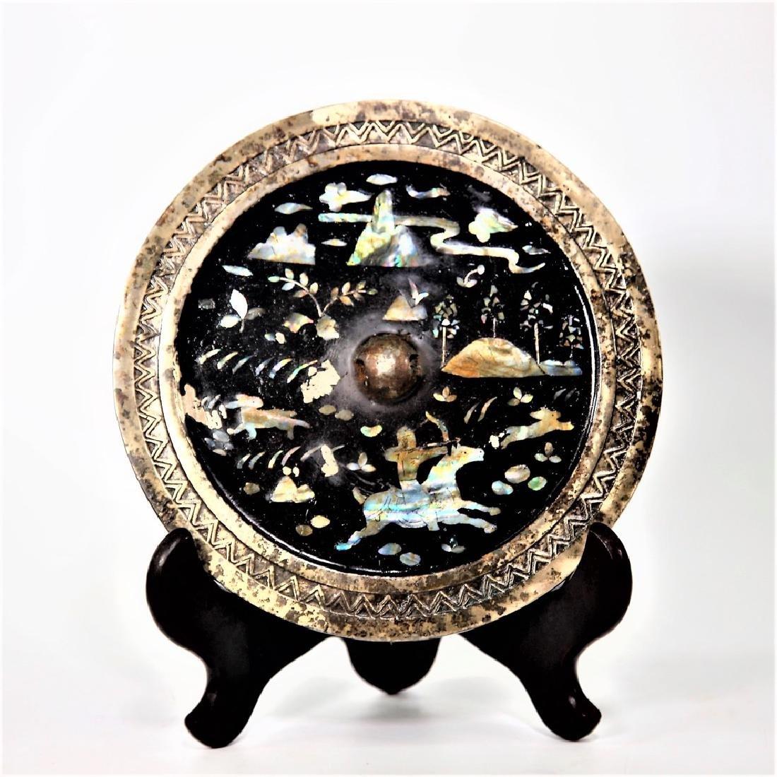 Chinese circular archaistic metal mirror
