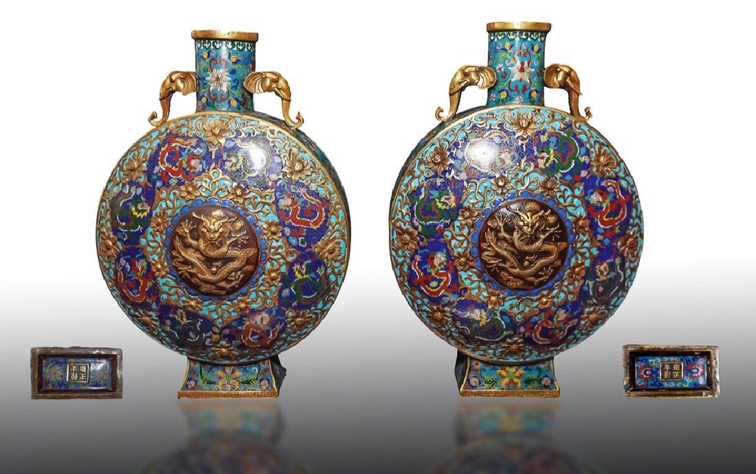 Important Qing Dynasty Pair of Chinese Cloisonne Moon