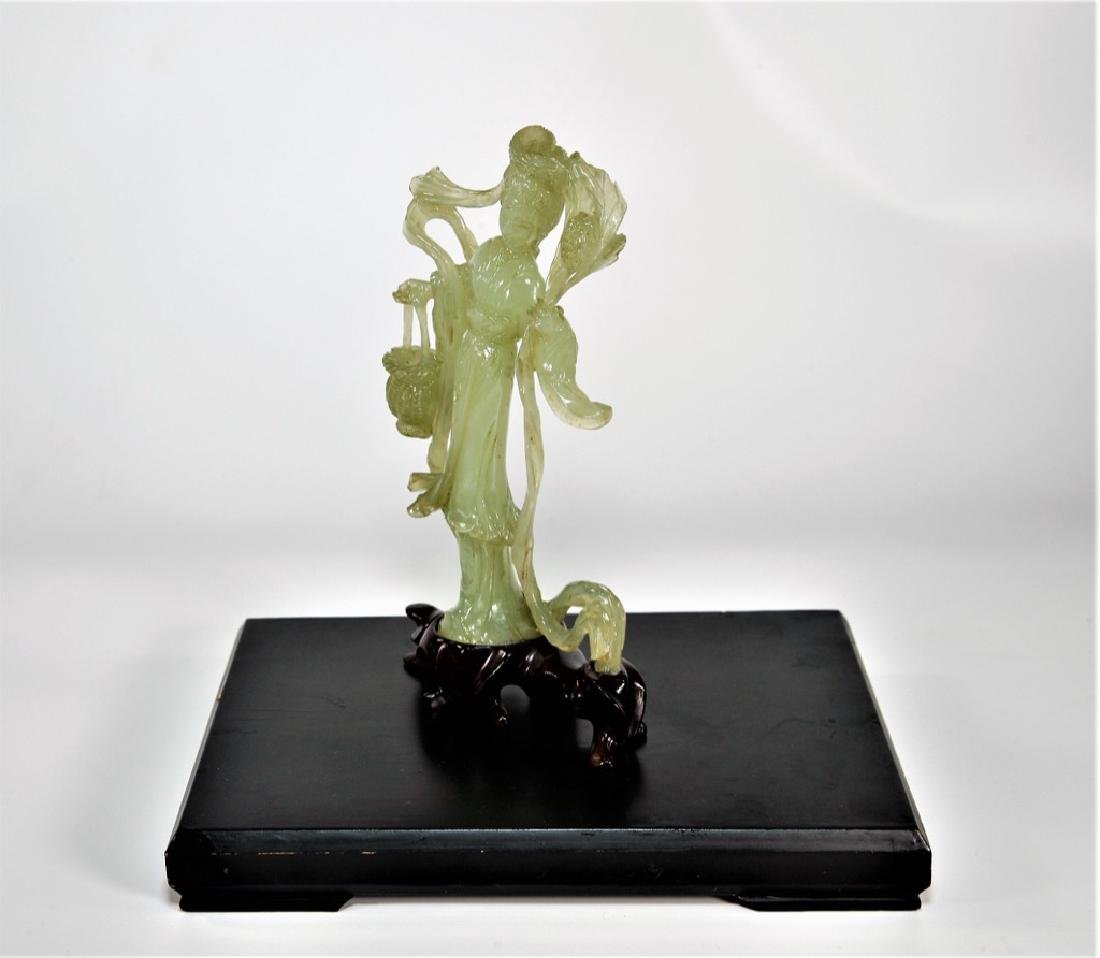 Chinese Jade Carving Immortal Beauty with Basket and