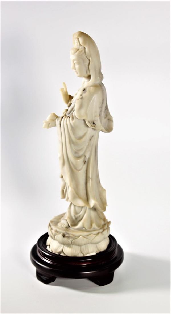 Chinese White Jade Carving Kwan Yin Standing on Lotus