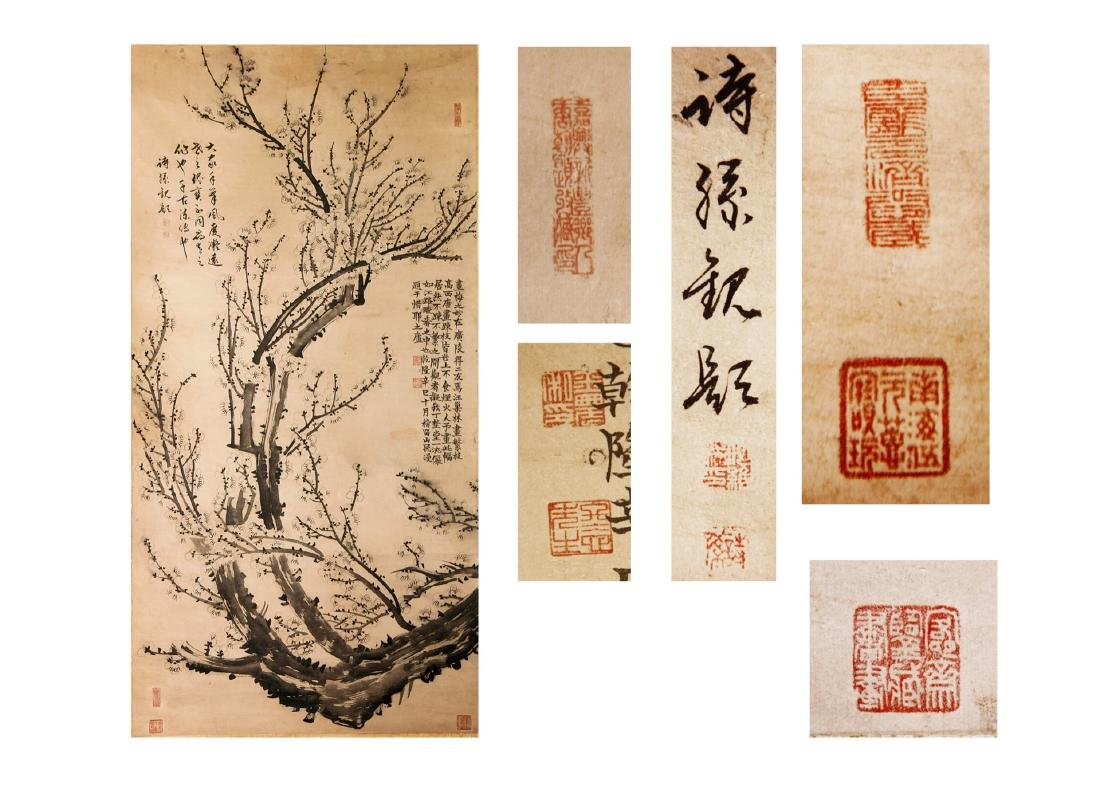 Chinese Scroll Painting, ink and color on paper,