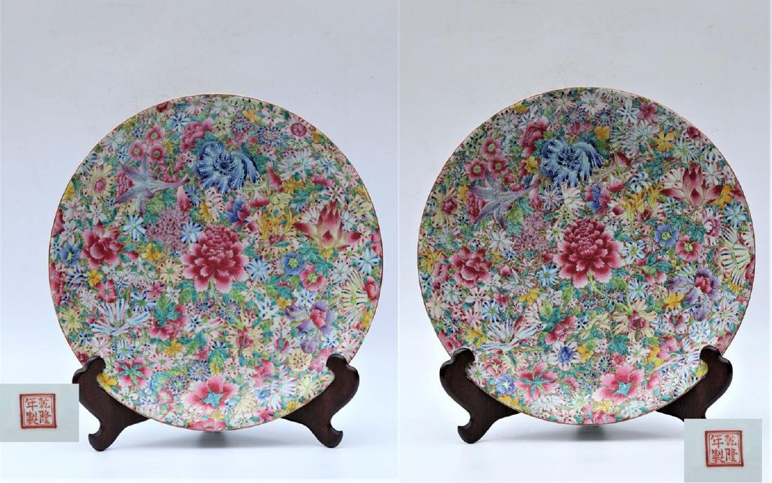 Large Pair of Chinese Qing Dynasty Mille Fleur