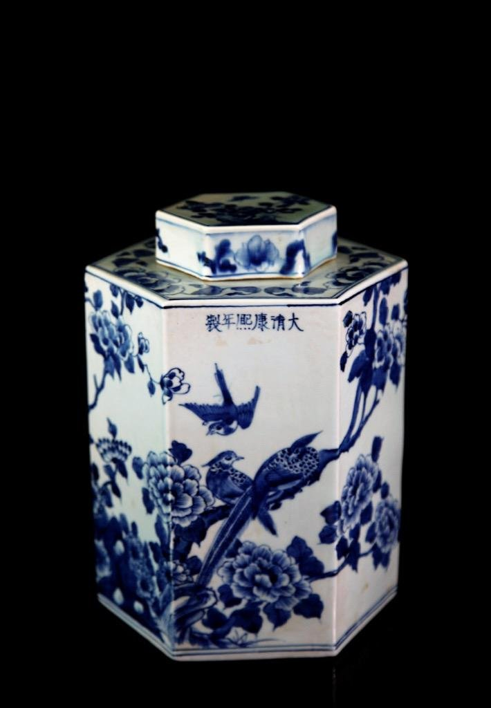 Chinese Qing Dynasty Blue & White Porcelain Tea Jar