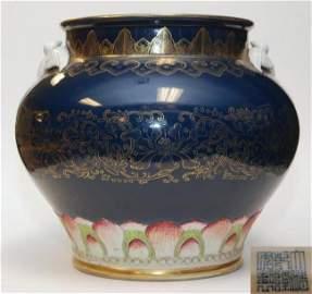 Qing Qianlong sacrifice blue glaze tracing the Golden