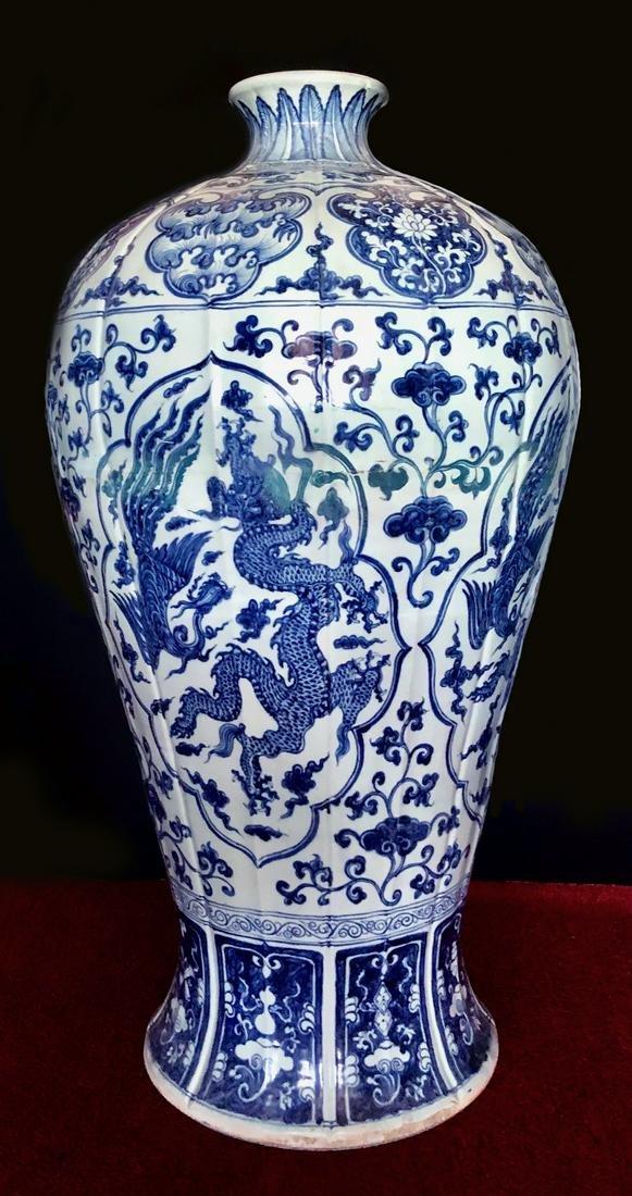 Massive Chinese Yuan Dynasty Blue & White Porcelain Vas
