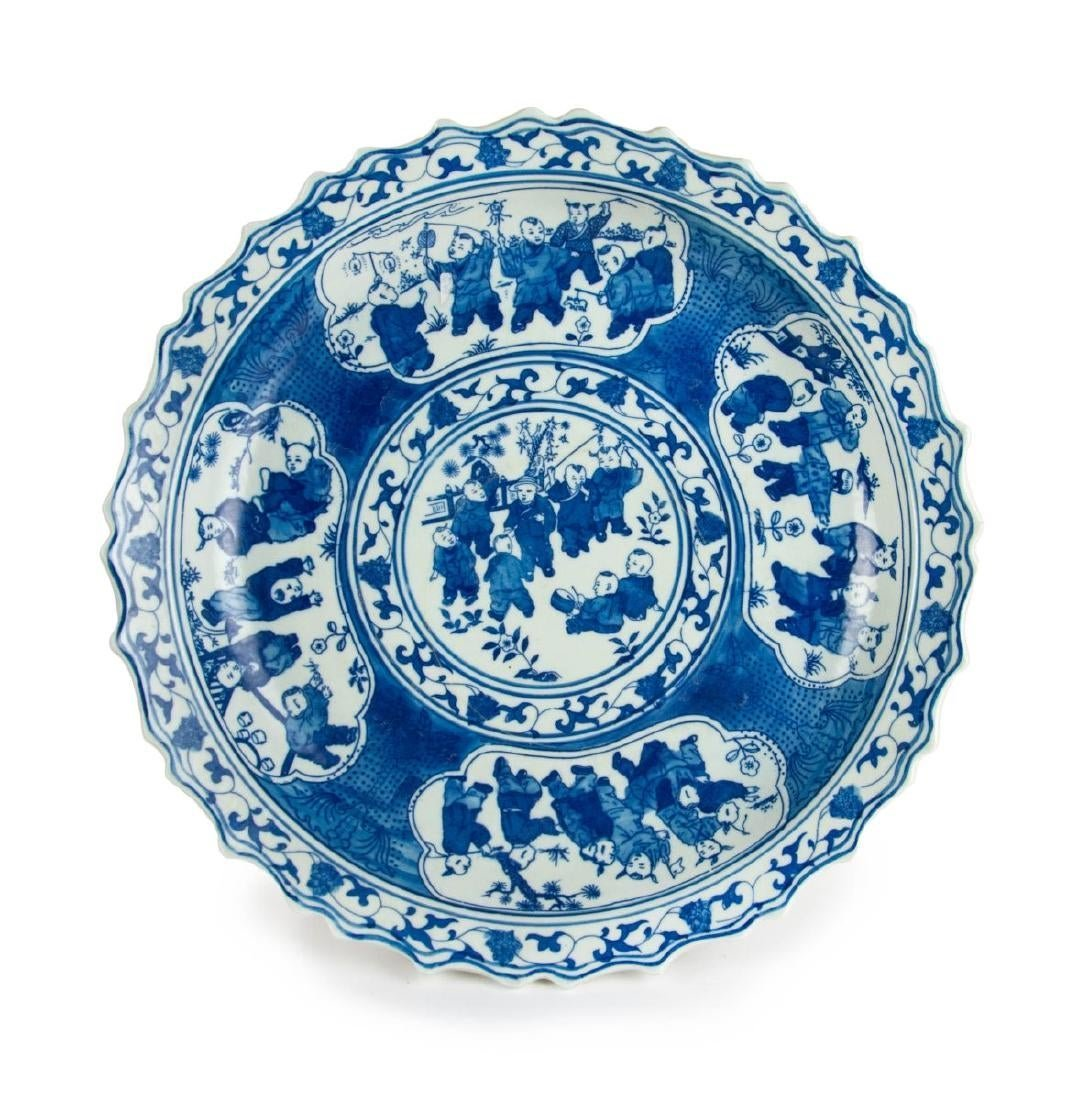 Chinese Qing Dynasty Blue and White Dish With Playing