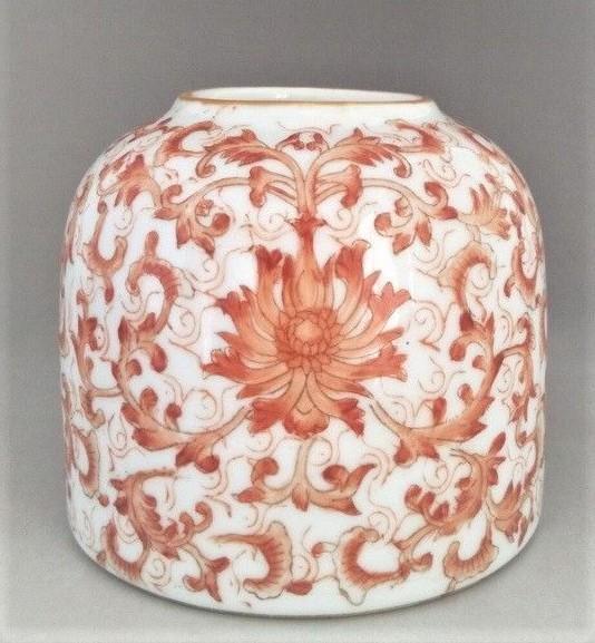 Chinese Crimson color flower Porcelain Brush Washer
