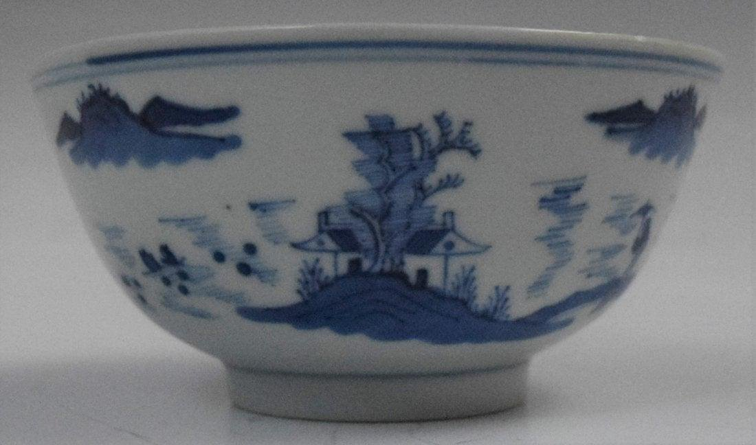 Chinese Qing Dynasty Blue and White Bowl With Kangxi