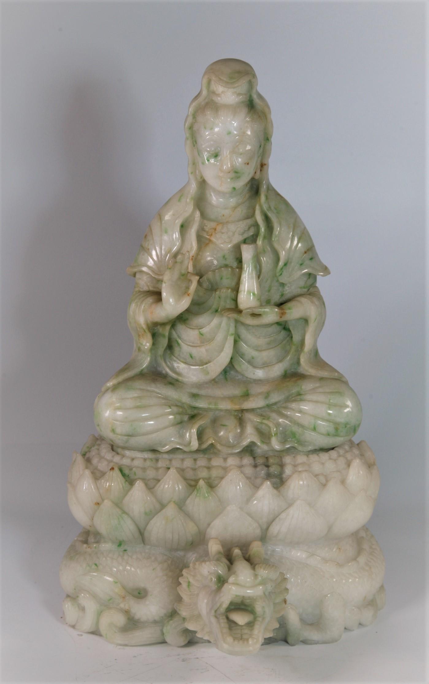 Large Chinese Burma Green Jade Guanyin Sitting on Lotus