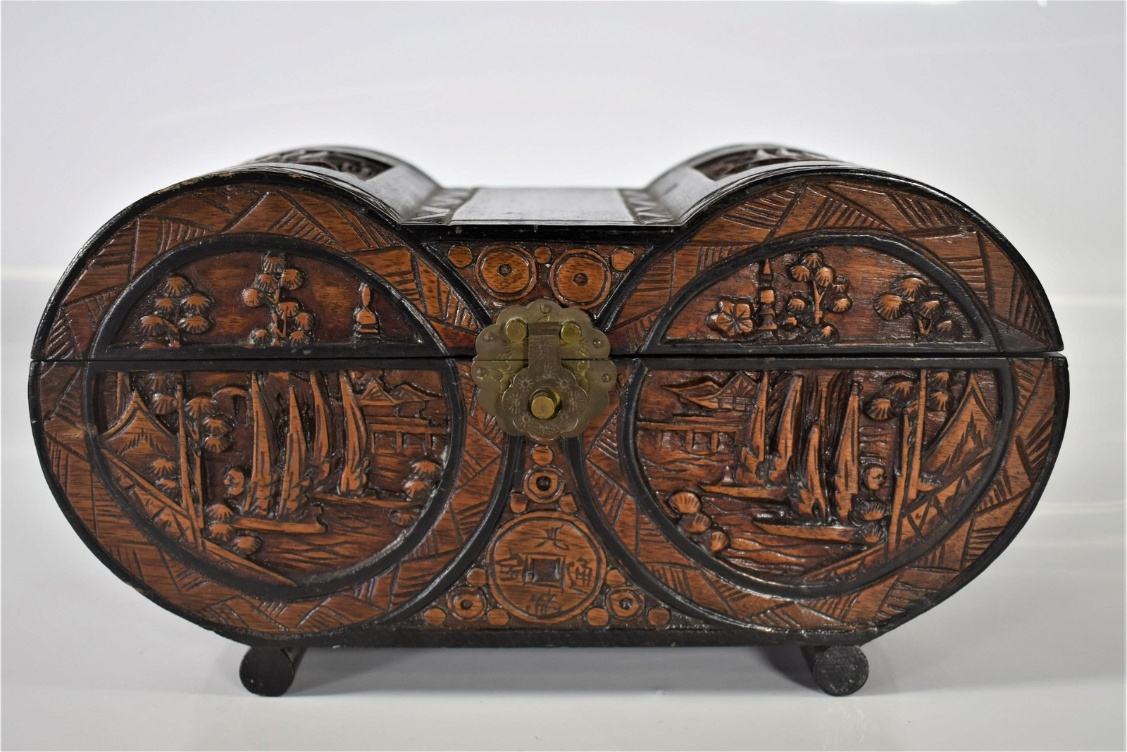 Chinese Qing Dynasty Carved Wood Jewelry Box