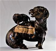 Chinese Ancient Jade Carved Sheep and Kid With Eagle