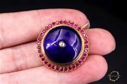 1880-1900, 18 k gold ruby diamonds enamel brooch