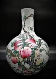 Large Qing Qianlong Famille Rose 9 Peachs Bottle Vase