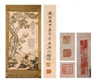 Chinese Scroll painting, ink and color on paper