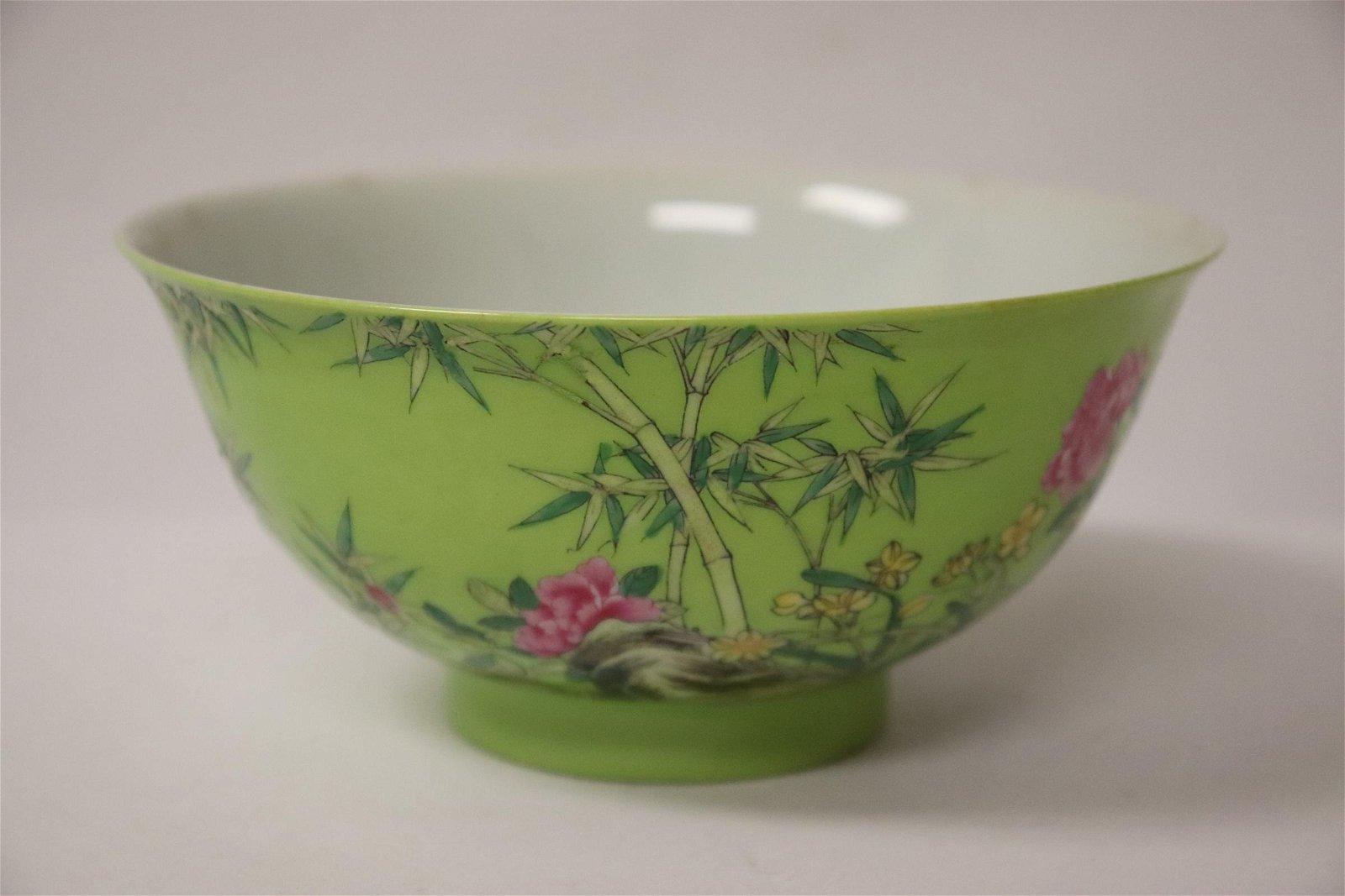 Qing Yongzheng green background famille Bowl
