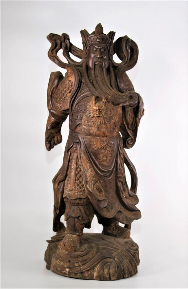 Large Song Dynasty Temple Gilt Camphor Wood Carving God