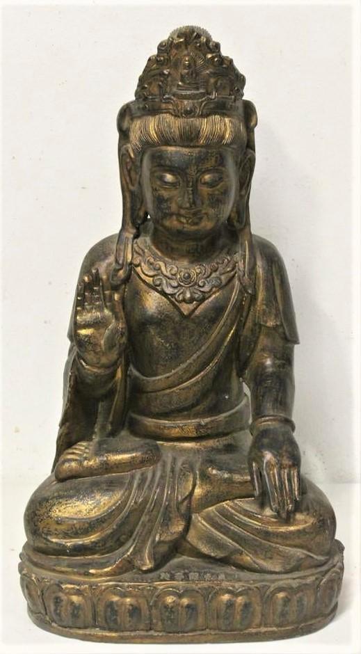 Tang Dynasty, A.D. 8th Century A Gilt Bronze Guanyi
