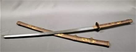 Excellent Japanese Samurai Dragon Sword Katana Brass