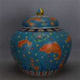 Ming jiajing enameled wire inlay fish jar