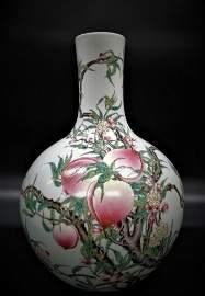 Large Qing Yong Zheng Famille Rose 9 Peachs Bottle Vase