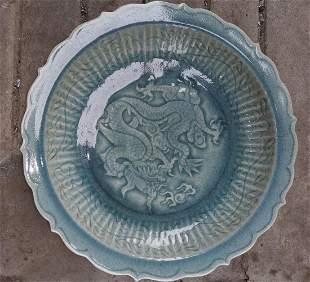 Qing Dynasty Longquan Kiln Porcelain Carved Dragon