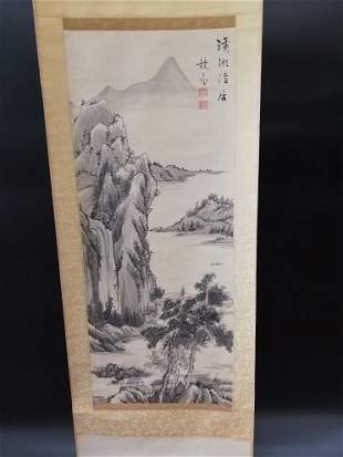 Chinese Scroll painting, ink and color on