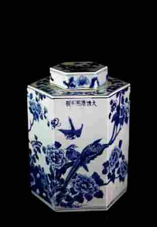 Qing Kangxi Blue & White Porcelain Tea Jar