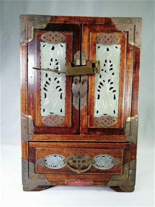 Qing brass mounted Wood Jewelry Box