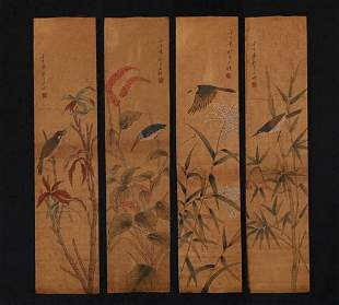 Four Chinese Qing Dynasty, Hand painting scroll by