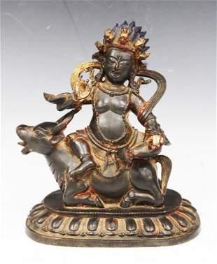 Qing Dynasty gilt bronze Alloy Kubera Buddha