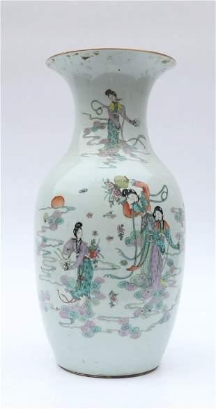 Qing Dynasty Famille Porcelain Bottle Vase