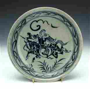 Ming Dynasty Blue and White Warrior Chaeger