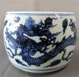 Ming Dynasty Xuande Blue And White Poecelain Dragon Box