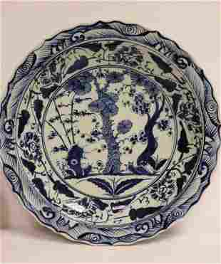 large Ming blue and white charger